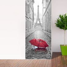 ФОТО 3d france eiffel tower door wall sticker self adhesive peel & stick repositionable red umbrella fabric mural home decoation