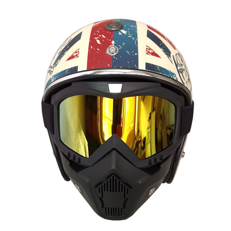 Helmet Glasses Mask Motorcycle Goggles Open-Face Vintage Retro with Moto/casco Face-Protector-Mask