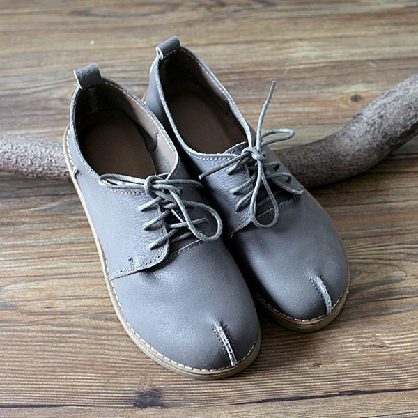 ФОТО 2017 Vintage Art Oil Wax Leather Shoes Women Round Toe Lace-up Flat Shoes Woman Casual Genuine Leather Loafer Flats Shoes