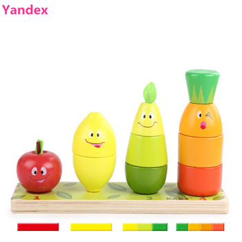 (Yandex) building blocks Fruit pagoda,2-6 year old,wooden toy bricks,intelligent montessori toys lol dolls baby toys 0-12 months toys for 2 month old