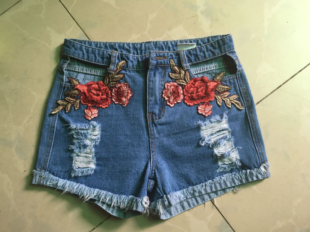 HTB1o3EfQVXXXXbQXFXXq6xXFXXXV - Sexy Hole High Waist Denim Shorts Flowers Embroidered PTC 156