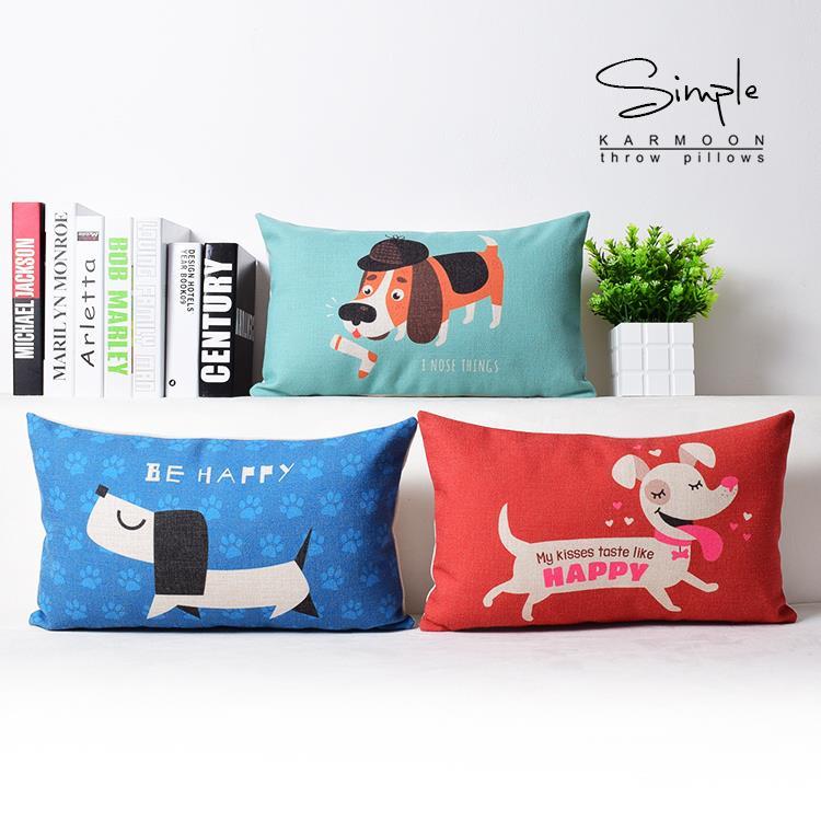 Nordic Cute Cartoon Illustration DOG Pillow Happy Dog Pillow Gorgeous Decorative Pillows Dogs