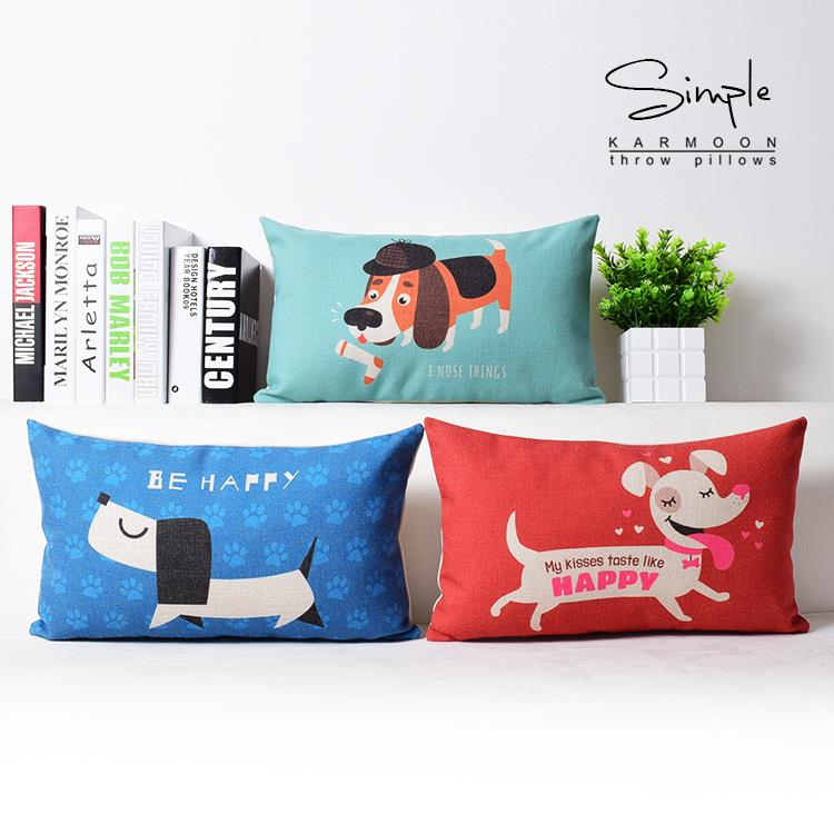 nordic cute cartoon dog pillow happy dog pillow cushion linen