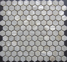 Pure White Hexagon Mosaik Fliesen, Perlmutt Fliesen Hexagon 25 MM; Perlmutt  Fliesen, Bathroomkitchen Backsplash Fliesen
