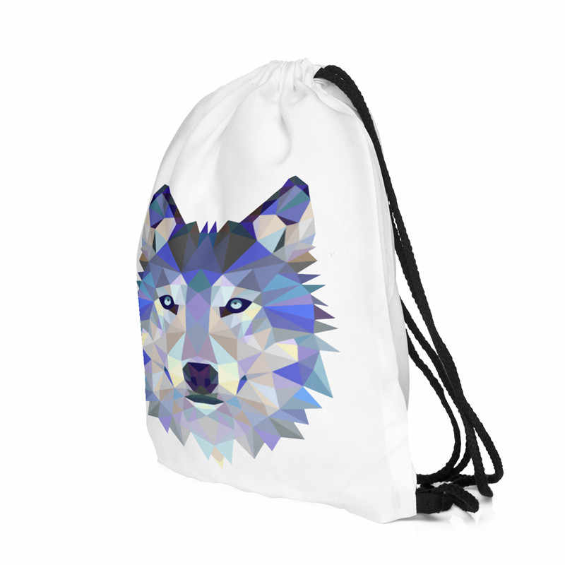 Волк 3D сумка со стягивающим шнурком и напечатанным текстом рюкзак для женщин Мода Кто заботится узор mochila feminina сумка fravel рюкзаки sac dos