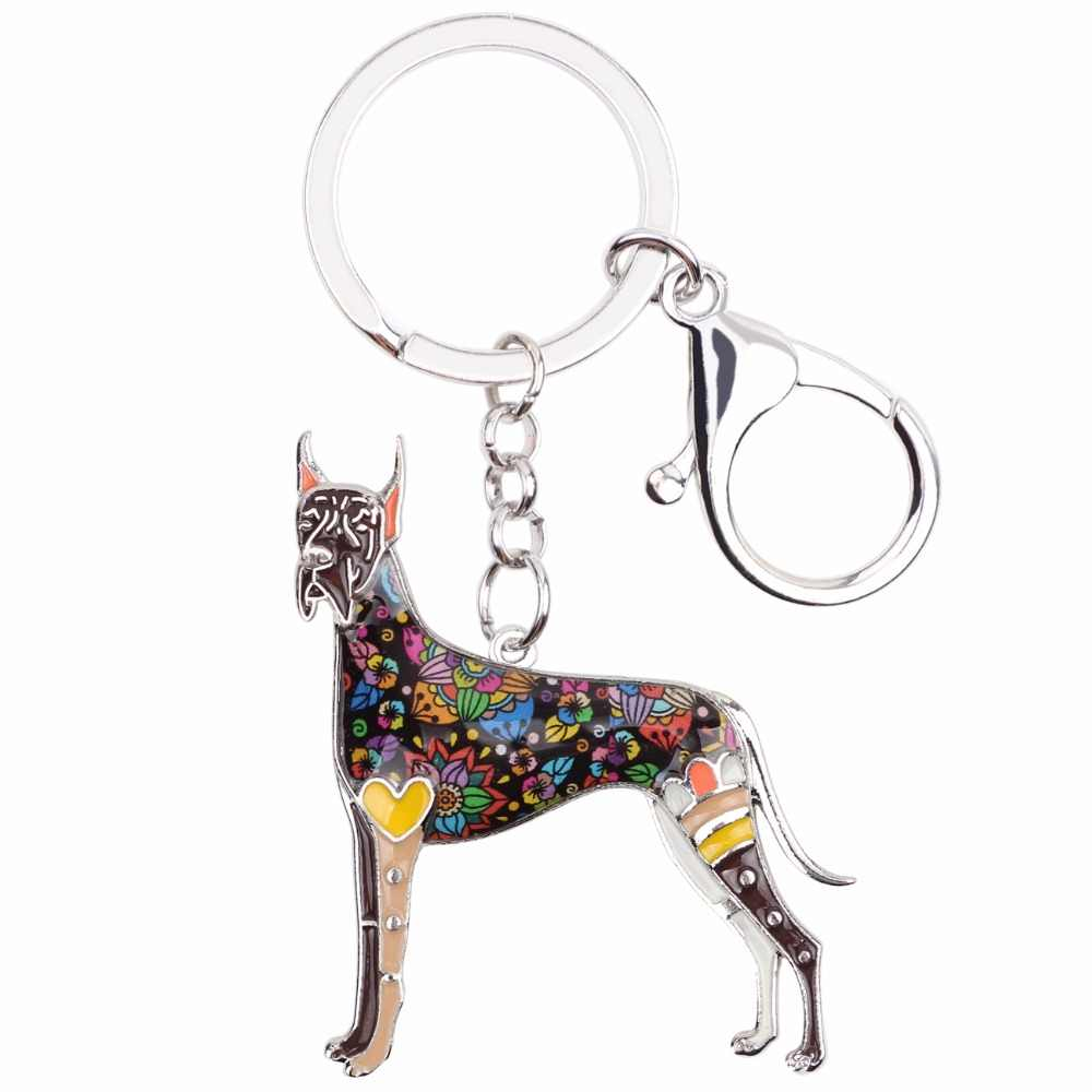 Bonsny Men Động Vật Great Dane Dog Key Chains Phụ Nữ Dây Móc Khóa Quà Tặng Cho Em Gái Charms Túi Xách Móc Khóa Móc Khóa Xe key Charms Jewelry