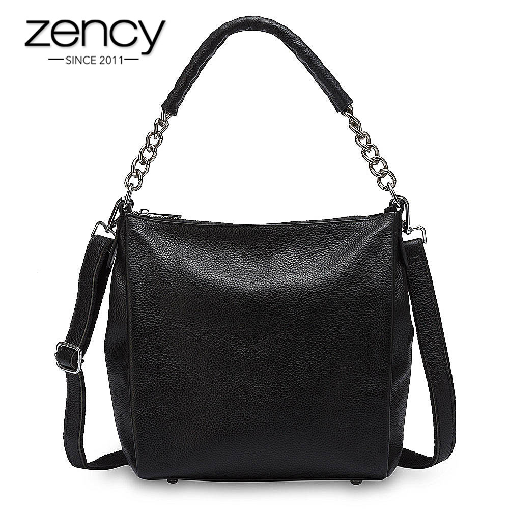 Zency 100% Genuine Leather Black Handbag Fashion Women Shoulder Bag High Quality Tote Purse Elegant Lady Crossbody Purse