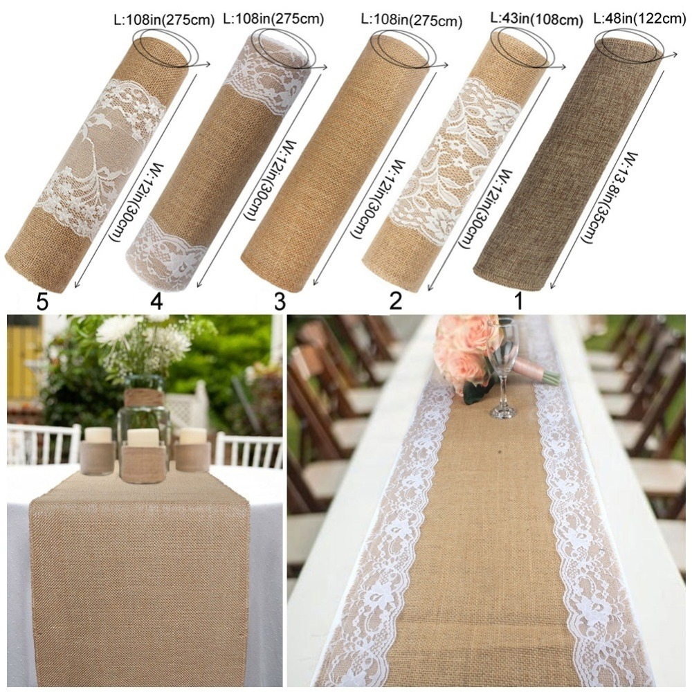 OurWarm Vintage Lace Burlap Table Runner Natural Hessian Jute Linen Country Party Table Cover Wedding Banquet Home Decoration