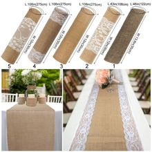 OurWarm Encaje Vintage camino de mesa de arpillera Natural yute arpillera de lino cubierta de mesa de fiesta de campo decoración del hogar de banquete de boda