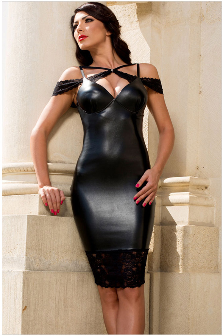 Hot Sexy Faux Leather Lace Cut Out Bodycon Sheath Dress -6006