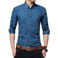 2016 New Fashion Men's Shirt Long Sleeve Jacquard Weave Slim Fit Shirt Men Business Casual Cotton Shirt Men Camisa Masculina 5XL