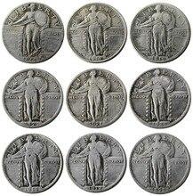 U.S. Coins Full set (1917-1924)-p-s 9pcs Standing Liberty QUARTER DOLLARS Copy Decorate Coin