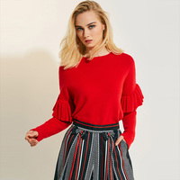 Sisjuly Winter Knitted Sweater Women Round Neck Solid Patchwork Falbala Warm Fashion Sweater Girls Red Plain