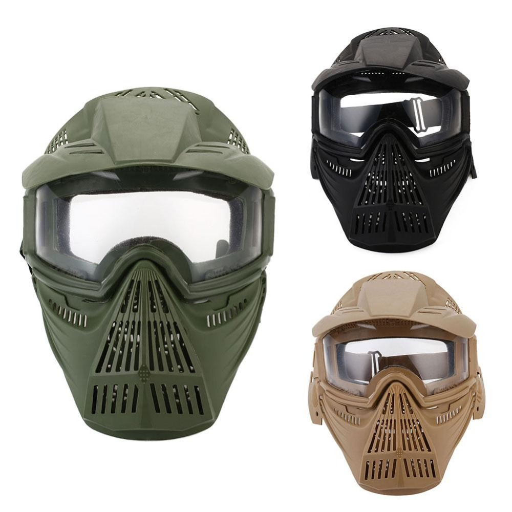 WoSporT Tactical Outdoor Lens Mask Full Face Breathable CS Hunting Military Airsoft Protection Masks Paintball Accessories
