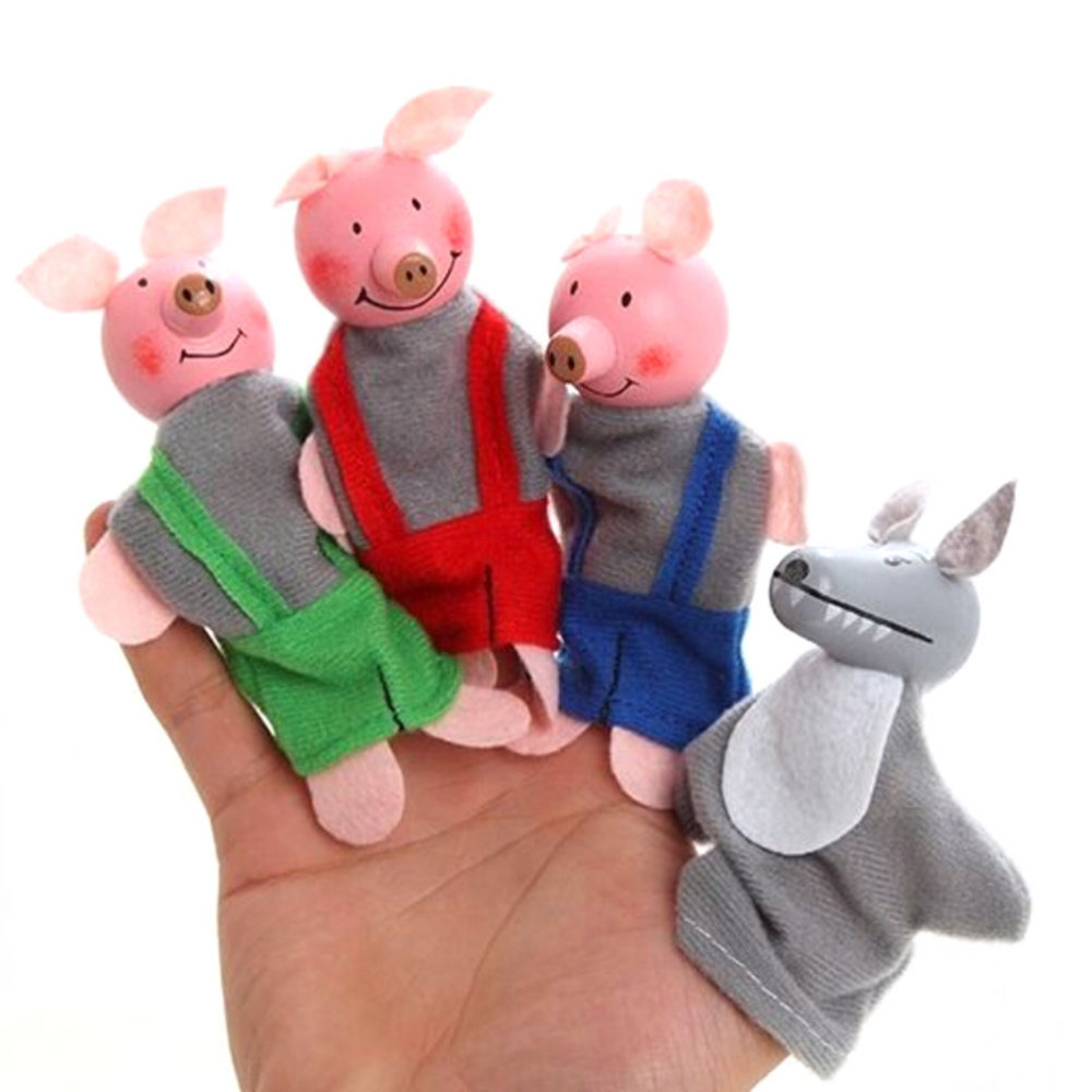 New 3 Pig And 1 Gree Wolf Finger Toy Little Pigs Finger