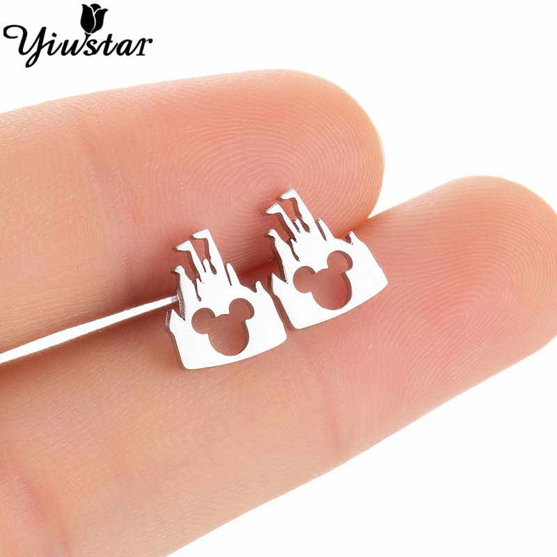 Yiustar Mini Animal Mickey Earrings for Women Girls Birthday Jewelry Small Cute Stainless Steel Stud Earing Kids Accessories