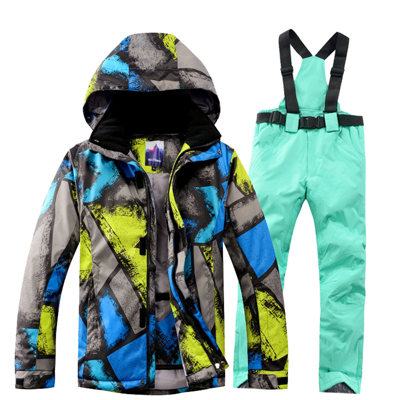 Winter Snowboard Jacket+Pant Men Waterproof Windproof Ski Jacket male Climbing Thermal Snow Outdoor Camouflage Graffiti Coat men plus size 4xl 5xl 6xl 7xl 8xl 9xl winter pant sport fleece lined softshell warm outdoor climbing snow soft shell pant