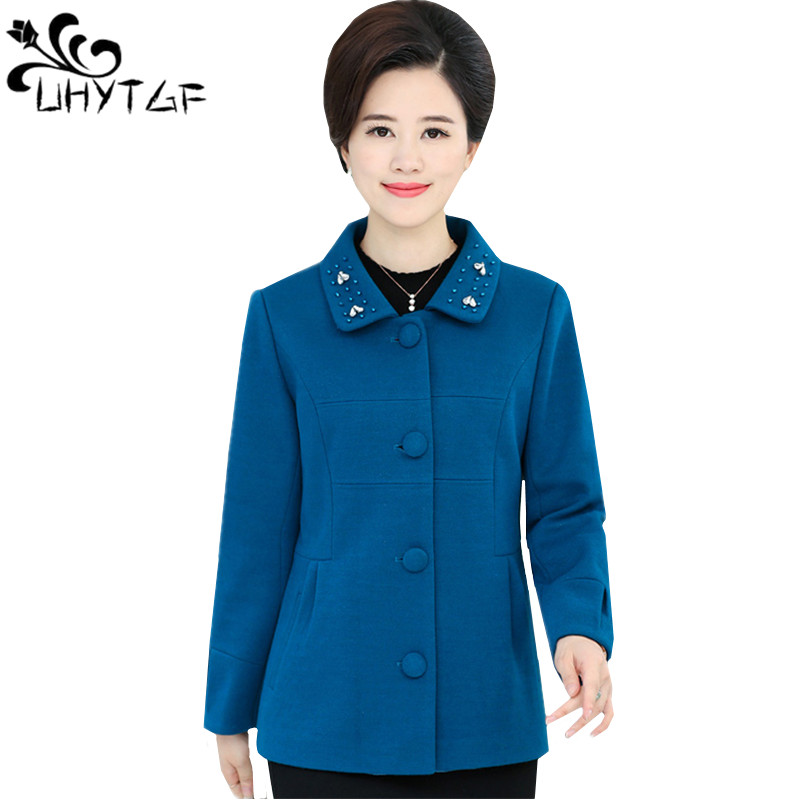 UHYTGF Autumn Fashion Short Woolen Coat Casual Jacket Woman Coats Plus size Long sleeve Female wool