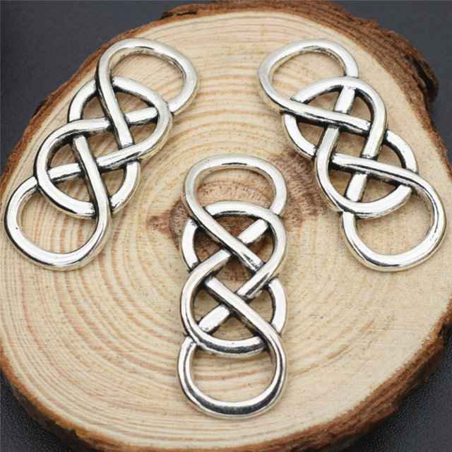 5pcs 3313mm 2016 Tibetan Silver Chinese Knot Double Infinity Symbol