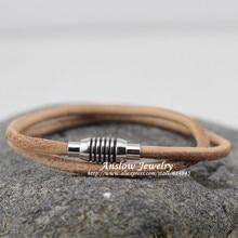 LOW0108LB новые модные ювелирные изделия Ретро магнит ручной работы DIY дружба* рок стиль кожаный браслет регулируемый подарок
