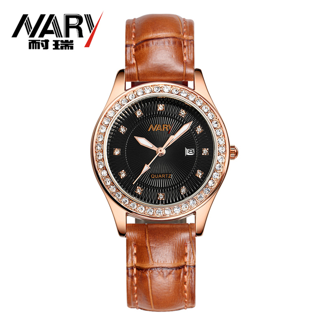 Fashion NARY Brand Women Watch Genuine Leather Strap Rhinestone Wristwatch Elegant Female Dress Quartz Watch relogio feminino