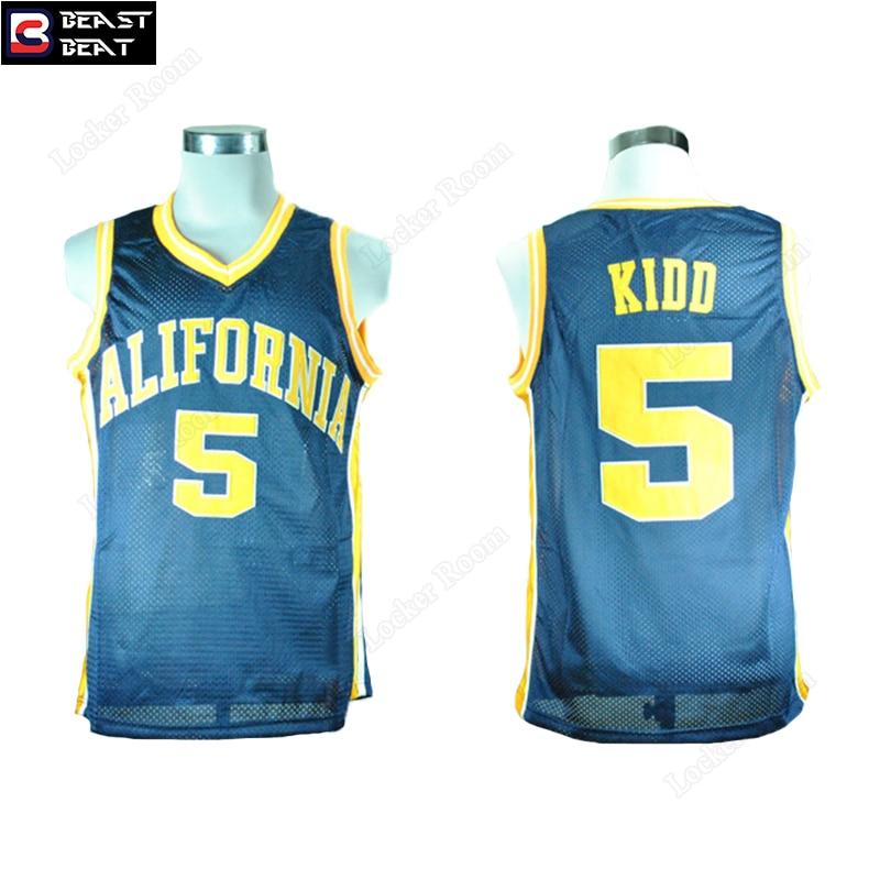 Jason Kidd 5 California Student Basketball Jerseys Light Blue Beast Beat Throwback Edition Jerseys Wholesale Workout Shirts