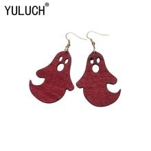 YULUCH Novelty Cute Little Devil Head Wood Pendant Earrings