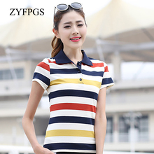 ZYFPGS 2019 Womens Short Sleeve Polos Cotton Buttons High Quality Navy Style Fashion Leisure Workplace Street Basic L0521