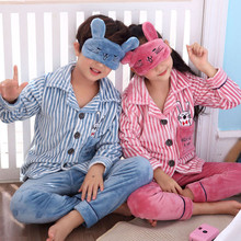 Купить с кэшбэком Boys Winter Thickening Flannel Pajamas Set Christmas Family Pajamas Suits Children Clothing Toddler Girls Cartoon Warm Home Suit