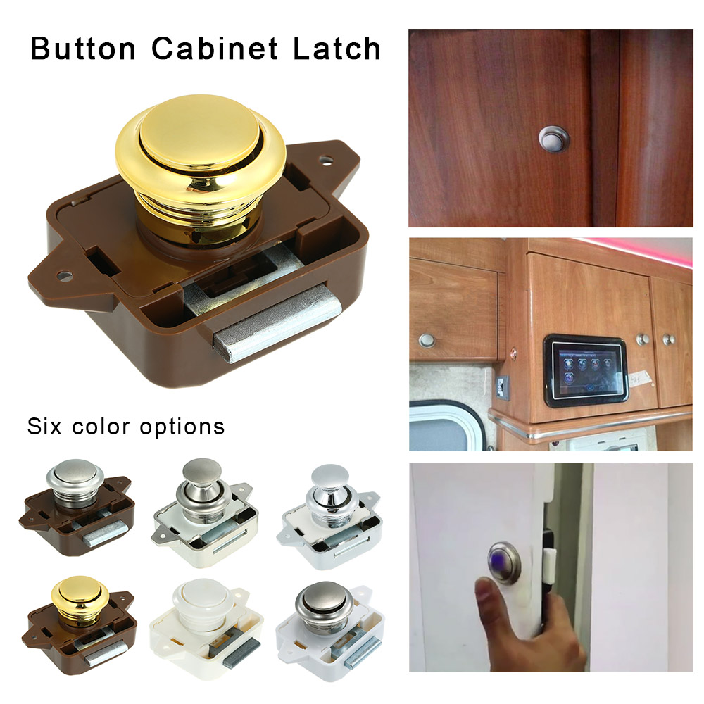 Large Push Button Cabinet Latch For Rv/motor Home Cupboard Caravan Lock For Cupboard Door Push Latch Lock Knob Camper Drawer Good Heat Preservation