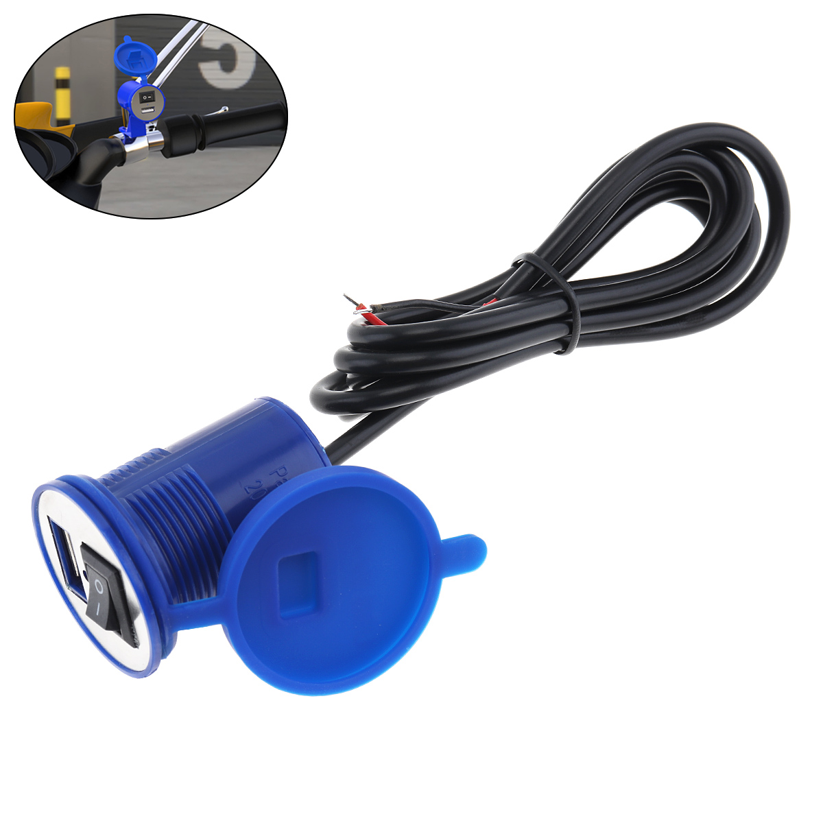 12V 2.1A Waterproof Motorcycle Chager USB Mobile Phone Charger With On-Off Switch For Cross-cycling Scooter Electric Vehicle