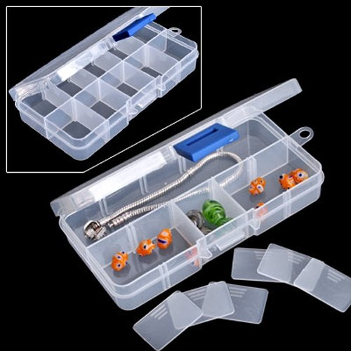 10 Grids Plastic Box Adjustable Jewelry Box Beads Pills Nail Art Storage Box Organizer for the office housekeeping organization Pakistan
