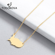 Todorova Outline United States Map Pendant Necklace USA Silhouette American Country Nation Continent Necklaces for Women Jewelry