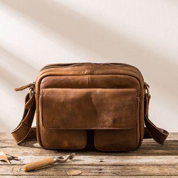 2018 New Brown Men's Shoulder Bag Leather Handle Messenger Bag Small Vintage Handmade Crazy Genuine Leather Bag