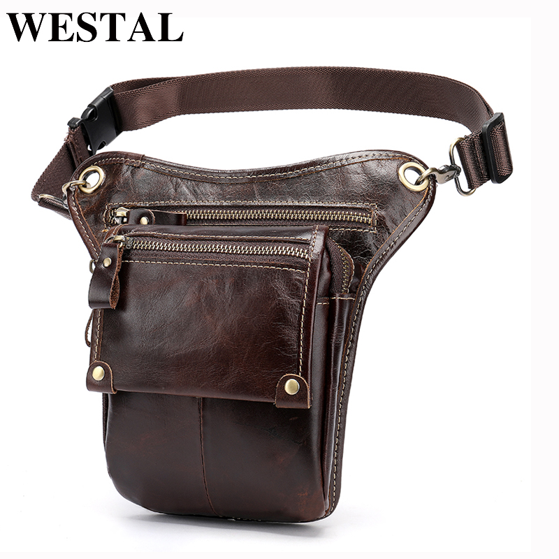 WESTAL Genuine Leather Leg Bag In Waist Pack Motorcycle Fanny Pack Belt Bags Phone Pouch Travel Male Small Leg Bag Tactical 3237