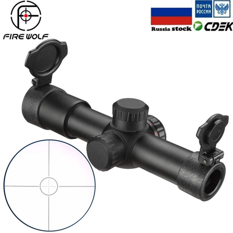 FIRE WOLF 4.5x20 E Mil-Dot Riflescope Hunting Rifle Scope Red Illuminated AK47 AK74 AR15 Riflescope With Flip-open Lens Caps