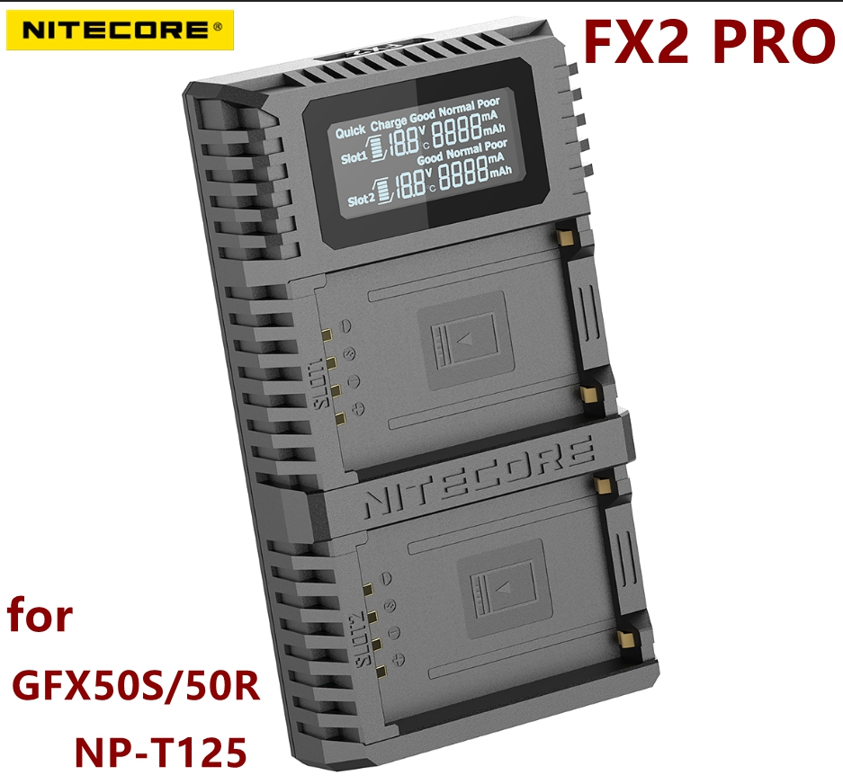 nitecore FX2 PRO Dual Slot USB QC Charger For Fujifilm GFX50S 50R Compatiple with NP T125