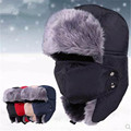 2016 New Winter fur hats Outdoor Windproof Thick warm winter snow women cap Face Mask men's cycling hat