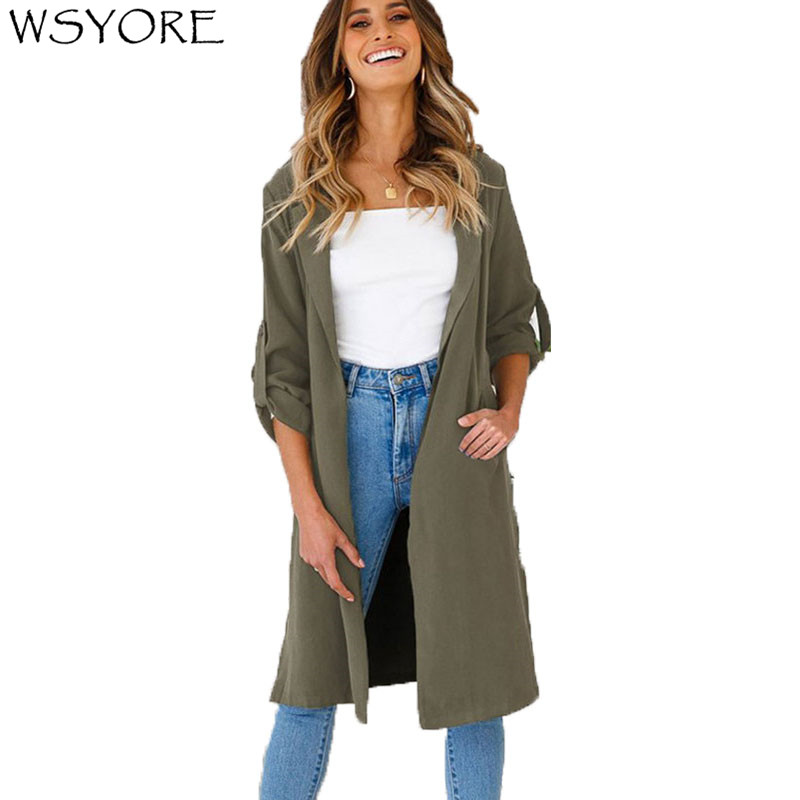 WSYORE Women Casual Thin Long   Trench   Coat 2019 New Spring and Autumn Slim Female Open Stitch Split Sexy Outwear Coats NS624