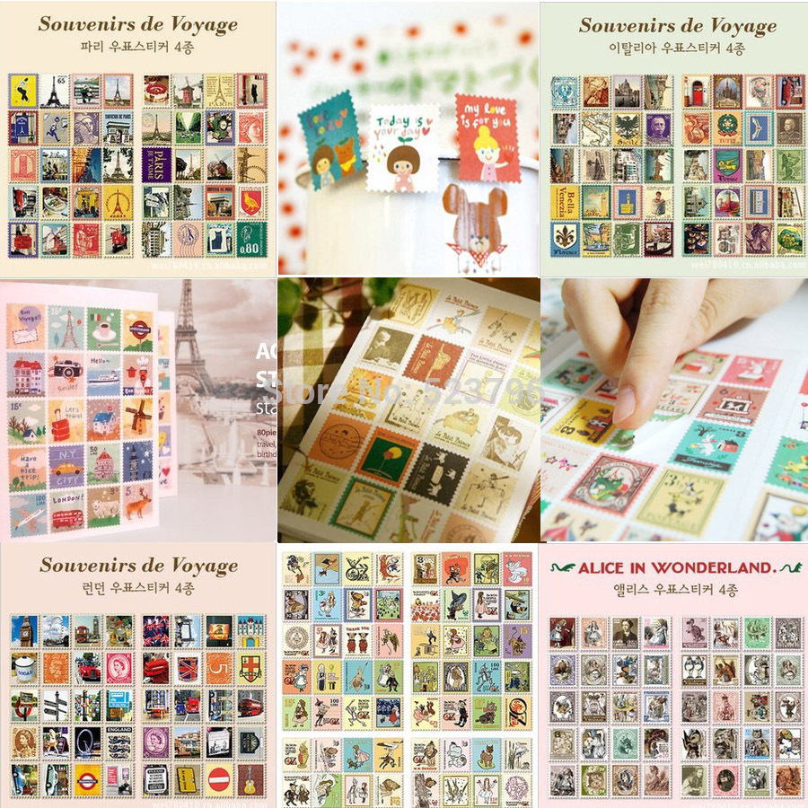 Free Shipping 1 Lot=80Sheets Stickers DIY Scrapbooking Paper Vintage Stamps Stickers Retro Decoration Sticker