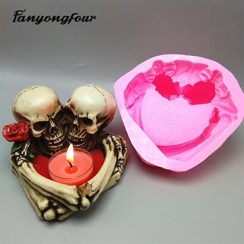 3D Skull Candlestick Silicone Mold Fondant Cake Mold Resin Plaster Chocolate Candle Candy Mold Free Shipping