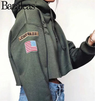 women Hoodies Long Sleeve Cropped Sweatshirt Usa Flag Embroidery Pullover