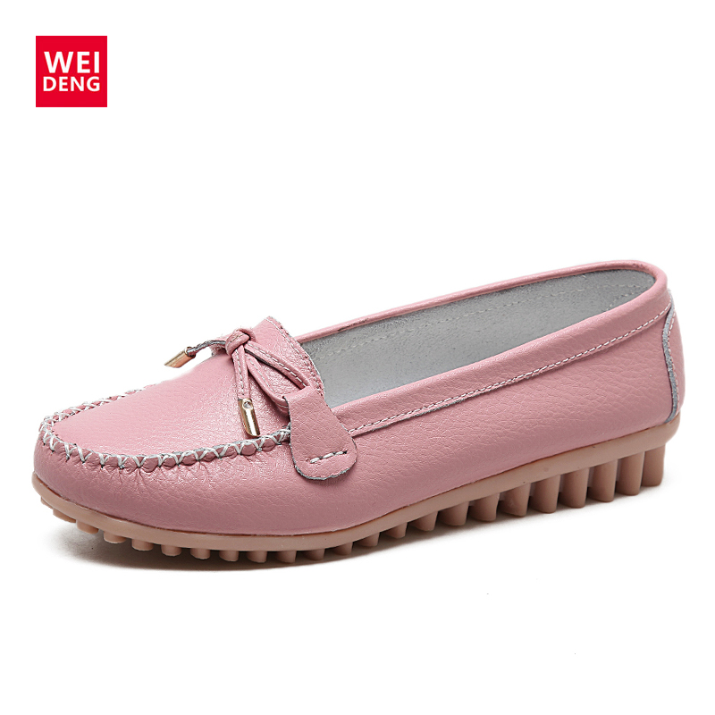 WeiDeng Casual Female Women Loafers Suede Genuine Leather Loafers Soft Flats Moccasin Slip On Tassel Boat Zapatos Mujer handmade women loafers round toe genuine leather flats female soft moccasin gommino breathable boat shoes chaussure xk052506