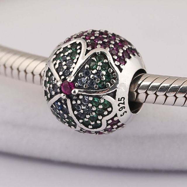 42bf64c58 2018 NEW Spring Glorious Bloom Multi-Colored CZ DIY Fits For Pandora  Original Charms Bracelets 925 Sterling Silver Jewelry
