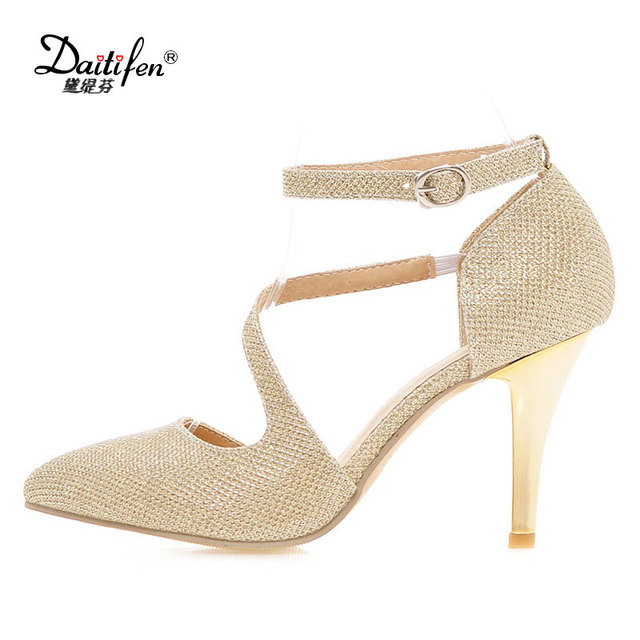 78d707fe0f6e Daitifen Traditional Indian Shoes 2018 Buckle Ladies High Pumps Gold Silver  Bling Zapatos Pointed Toe Sexy Ladies High Heels