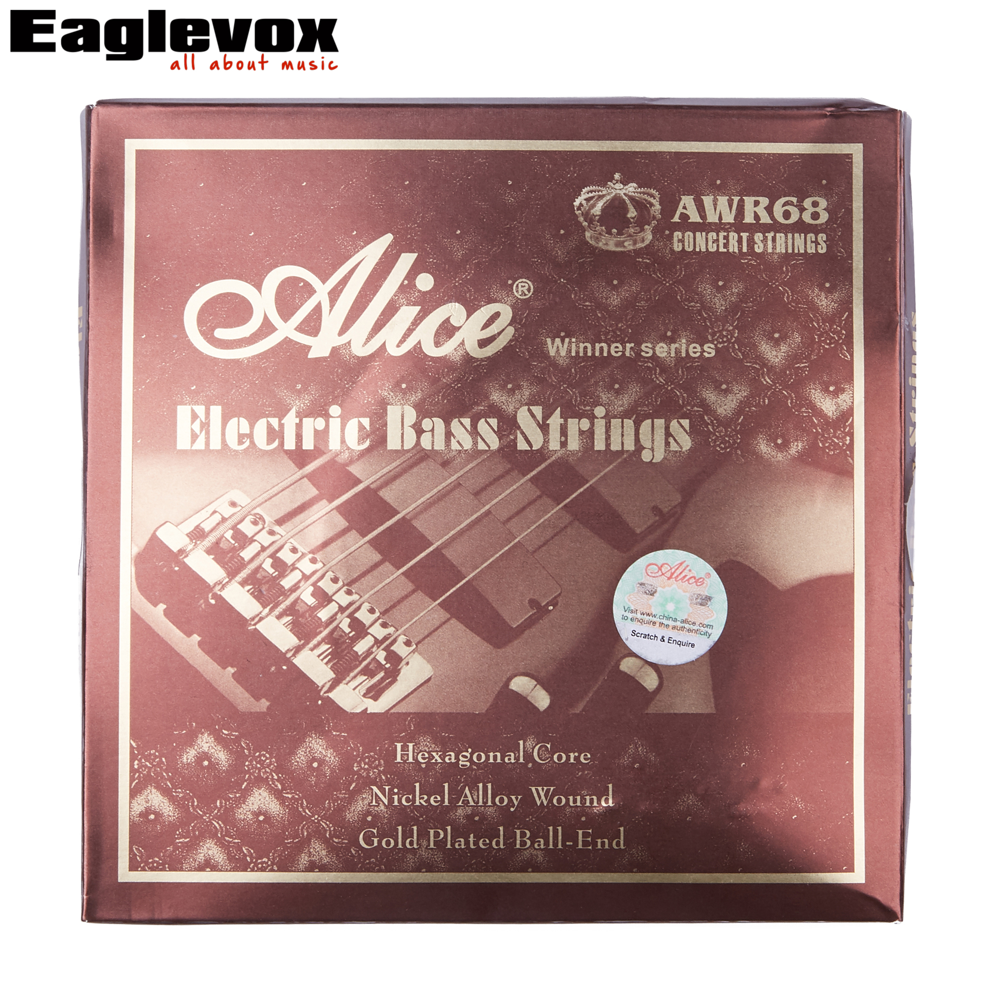 Alice Electric Bass Strings for 5 String Bass Nickel Alloy Wound Hexagonal Core Gold Plated Ball End 045-130 inch alice a628 fretless 4 electric bass strings full set 4 strings hexagonal core nickel alloy wound gold ball end