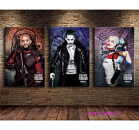 Joker Harley Quinn Suicide Squad 3 Pieces Canvas Painting Print Living Room Home Decor Modern Wall Art Oil Painting