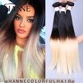 Новое Поступление 1b #613 ломбер волосы 4 пучки 2 тона Бразильские ombre прямые наращивание волос 613 мед светлые Волосы расширение