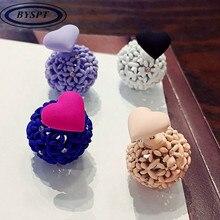 Фотография BYSPT New Fashion Heart Ball Earrings Ball Cute Korea Two Side Jewelry Double Side Stud Earring For Women Wholesale