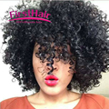 7a Brasileña Rizada Con Cierre de 3 paquetes de Armadura Profunda Rizado Afro Rizado Pelo Virginal rizado Cabello humano Con Cierre Con cierre
